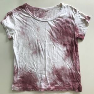 brandy Melville pink and white crop tee shirt